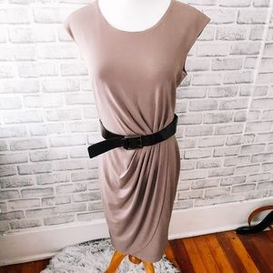Saks Fifth Avenue | taupe dress with belt
